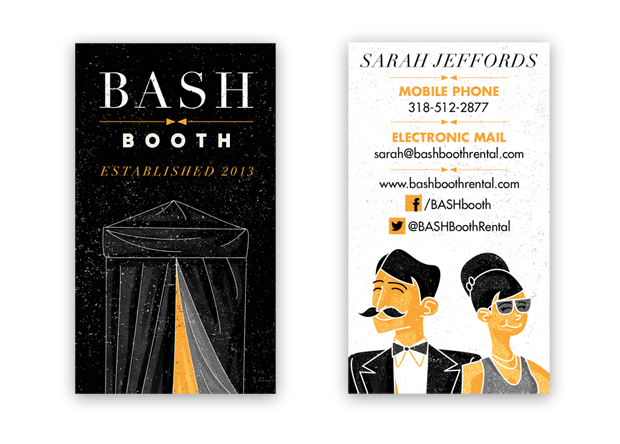 Small businesses big branding on a small budget spring media bash booth photo booth rental business card design reheart Image collections